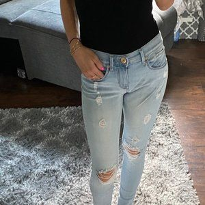 Express jeans leggings distressed 00